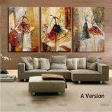 Ballet Dancing Girls Modern 3 Panels 100% Hand Painted Oil Paintings on Canvas Wall Art Work for Living Room Home Decorations