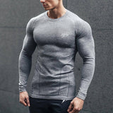 New Mens Compression Long sleeve Skinny T-shirt Casual Quick dry Tee shirt Male Gyms Workout Tops Fitness Bodybuilding Clothing
