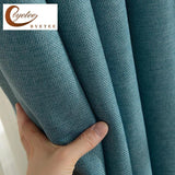 Pure color window blackout curtain thickened cotton linen shading cutains for living room bedroom luxury curtains courtain