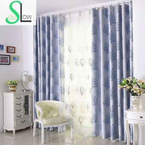 Rich Tree Curtains European Simple Jacquard Curtain Plant Pastoral Red Wine Gray For Living Room Tulle