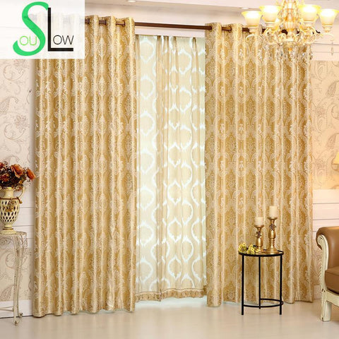 Romantic Jacquard Curtain Cloth Curtains And Tulle Modern Geometric Curtains Luxury Hotel Cortinas For Living Room French Floral-curtain-StyloMylo World