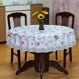 SALE ! PVC Pastoral round table cloth waterproof Oilproof non wash plastic pad plus velvet anti hot coffee tablecloth-Table Cloths-StyloMylo World