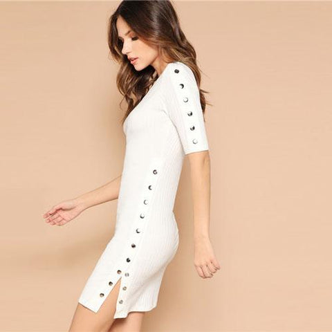 a138420a3e SHEIN Solid Press Button Detail Rib-Knit Slim Fit White Dress Women Summer  Casual Short