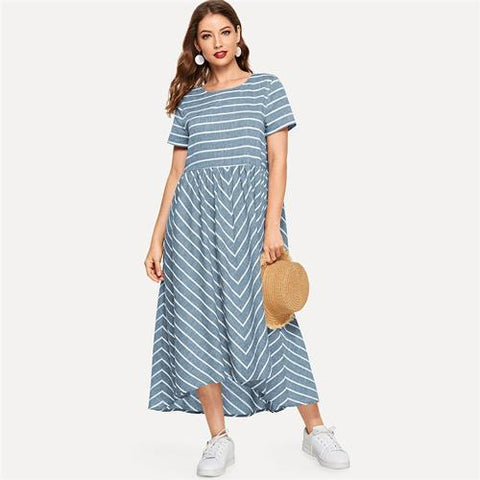 SHEIN Striped Chevron Print Smock Maxi Dress Women Casual Short Sleeve Summer Dress Round Neck Cotton Lady A Line Long Dress-summer dress-StyloMylo World