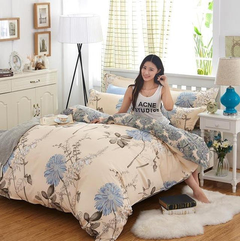 Simple and Natural Plant Lines Bedclothes Warm and Comfortable Bedding Sets King Queen Single For You to Choose 4 Piece-Beddings-StyloMylo World