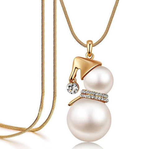 SINLEERY Cute Snowman Pendant Long Necklace For Women Gold Color Simulated Pearl Jewelry Santa Claus Christmas Gifts MY386 SSI
