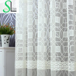 Slow Soul Jade White Beige Coffee Water Cube Warp Jacquard Curtain Modern Bedroom Geometric Curtains For Living Room Tulle-curtain-StyloMylo World