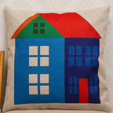 Square Linen Cushion Cover Printed Cartoon Colorful House Decorative Sofa Pillow Case-Throw Pillow Cover-StyloMylo World
