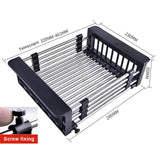 Stainless Steel Rack Drain Basket Telescopic Sink Rack Dish Rack Kitchen Organizer Cleaning Fruit Vegetable Cutlery Drainer
