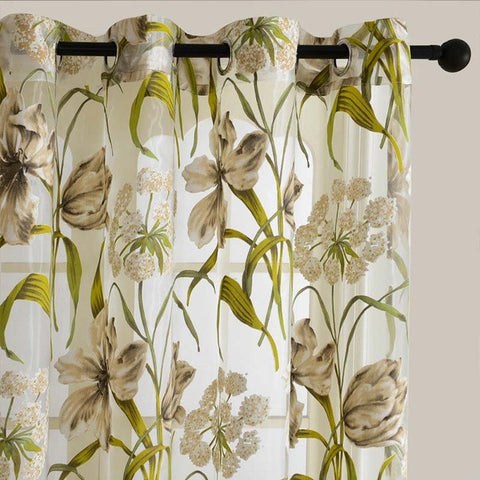 Top Finel Tropical Floral Print Semi Sheer Curtains For Living Room Bedroom  Kitchen Printed Flower Window Part 54