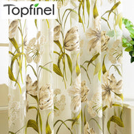 Top Finel Tropical Floral Print Semi Sheer Curtains for Living Room Bedroom Kitchen Printed Flower Window Curtains Tulle-curtain-StyloMylo World