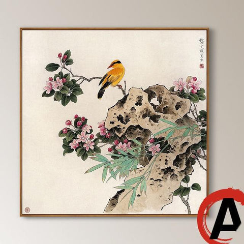 Traditional Chinese Style Canvas Paintings Watercolor Different Birds Rest On Banches With Rock Decorative Pictures For Home-Art-StyloMylo World