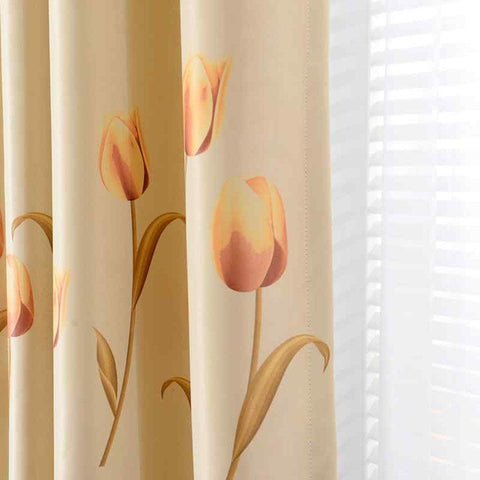 Tulip Printed Thick Blackout Curtains for Living Room Window ...