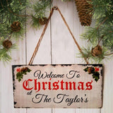 Unique Family Sign Welcome Plaque for Christmas Party Decor
