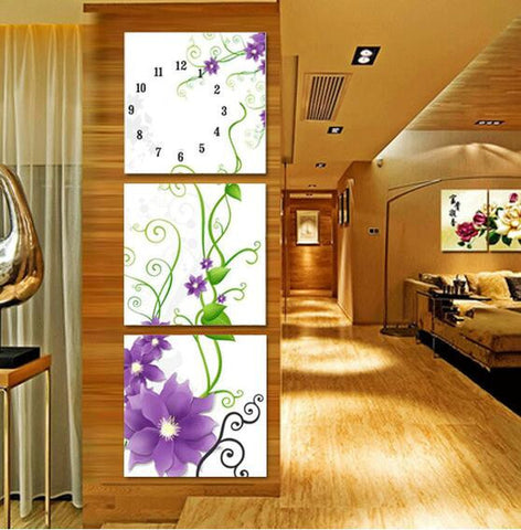 UzeQu Triptych 5D DIY Diamond Painting Cross Stitch Wall Clock Flower Diamond Embroidery Full Round Drill Diamond Mosaic Decor-Clocks-StyloMylo World