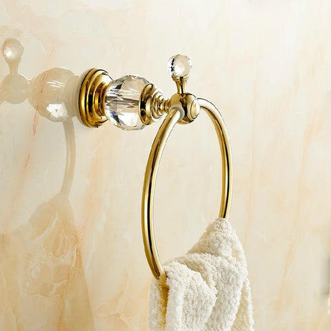 Wall Mounted Brass & Crystal Gold Towel Ring,Towel Holder,-Sanitary-StyloMylo World