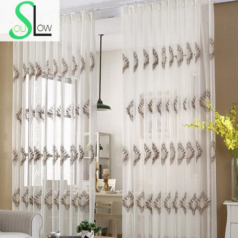 White European Cotton Embroidery Curtain Gauze Study Living Room Floral Curtains For Tulle Kitchen Bedroom Sheer