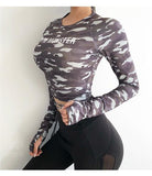Women Sexy Long Sleeve Crop Top fitness T-shirts camouflage Yoga shirt Gym Top Sexy sports T shirt  Workout Running clothes