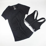 Women Yoga Sets for Gym Running Sportswear Suit Sport T-shirt + Bra Set Sports Tops Quick-Dry Fitness Clothing for Woman-yoga set-StyloMylo World