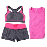 Women Yoga Sets Running Sports Bra + T-Shirt +Shorts Set Fitness Gym Push Up Seamless Bras Tops Elastic Short Pants-women sports bra-StyloMylo World