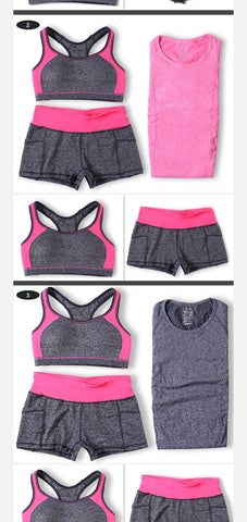 f6b1f7e649 ... Women Yoga Sets Running Sports Bra + T-Shirt +Shorts Set Fitness Gym  Push ...