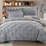 Wongs Bedding Luxury Silk Bedding Sets Grey Solid Satin Sheets Bed Linen Cotton Duvet Cover Bedsheet 4PCS Queen King Size-Beddings-StyloMylo World