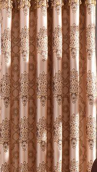 Yellow Brown Curtain European Style Gold Embossed Jacquard Pleated Curtains For Living Room Tulle Kitchen Bedroom