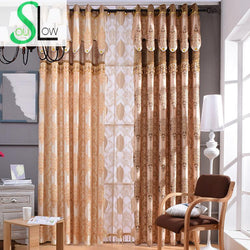 Yellow Brown Curtain European Style Gold Embossed Jacquard Pleated Curtains For Living Room Tulle Kitchen Bedroom-curtain-StyloMylo World
