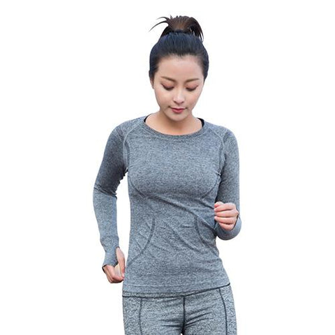 Yoga Gym Tights Women's Long Sleeves Shirts Tops Dry Quick Running Breathable Sportwear Fitness Clothes Ladys Tops-sports t-shirt-StyloMylo World