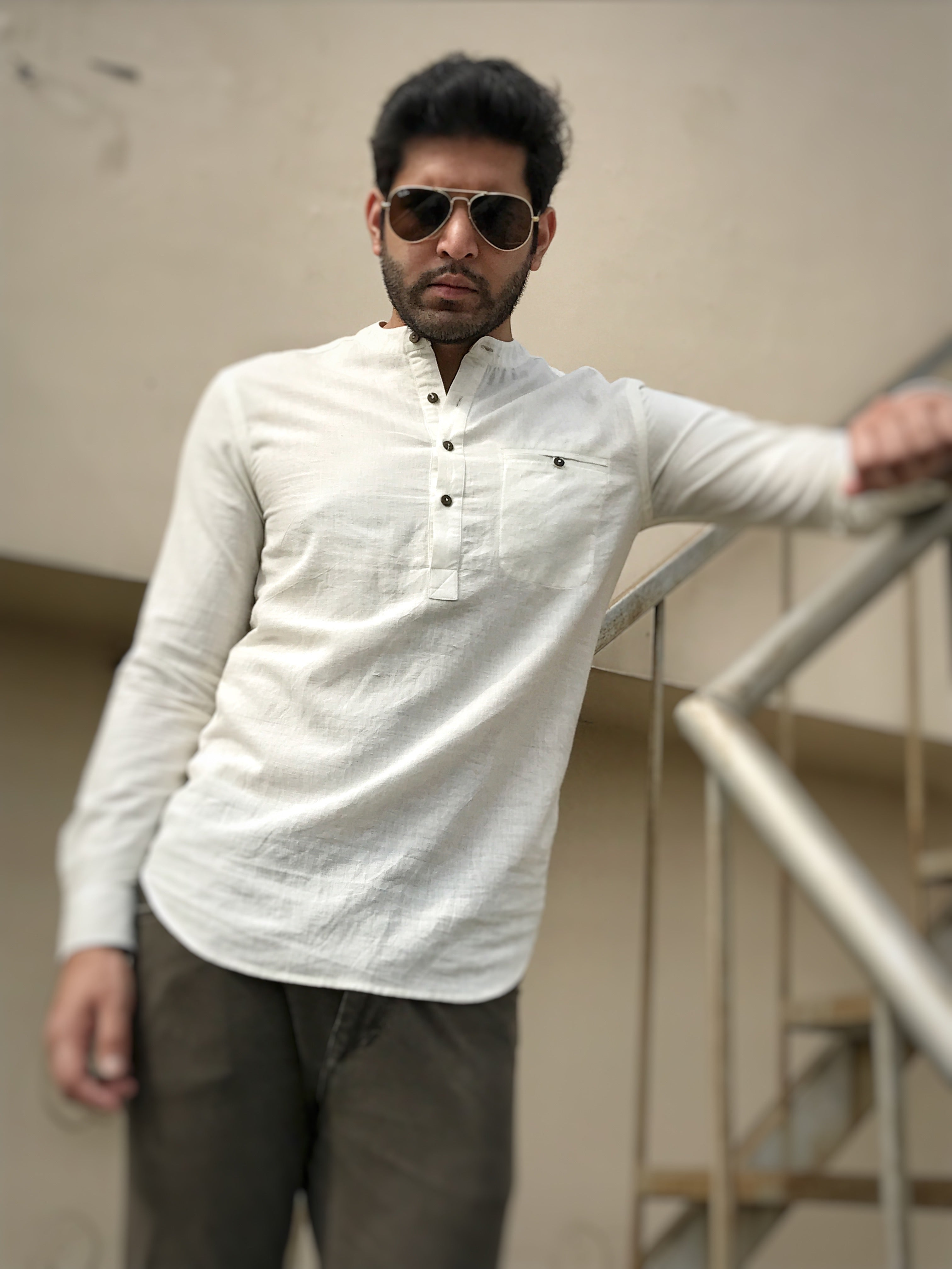 Mens Caden shirt in white khadi cotton