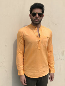 Mens Caden shirt in Orange khadi cotton