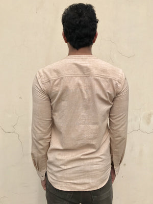 Mens Caden shirt in Beige khadi cotton