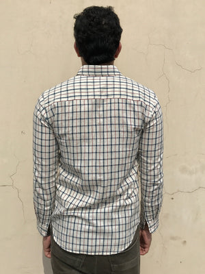 Mens Nick shirt in ivory/indigo checks khadi cotton