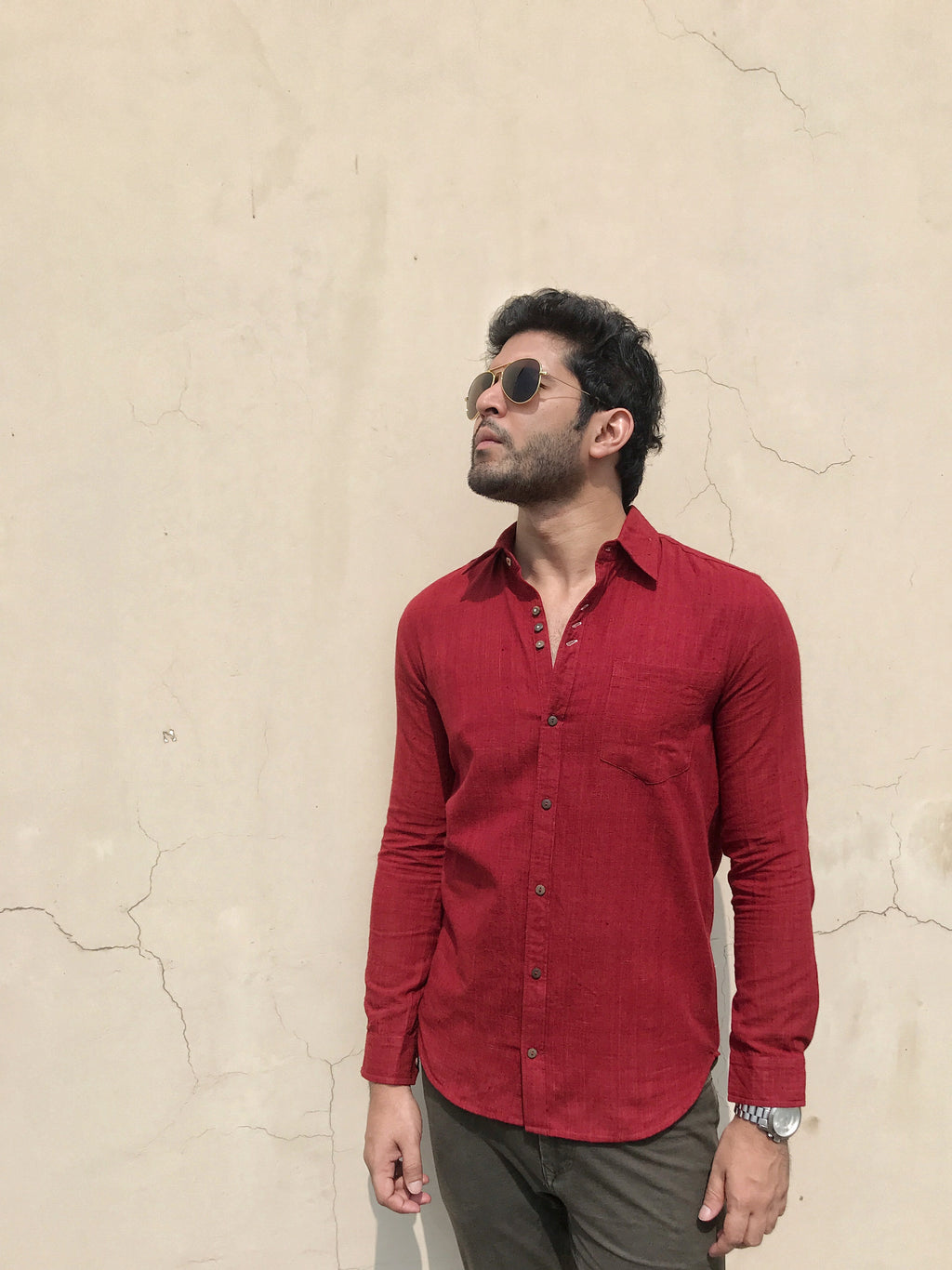 Mens Nick shirt in deep red khadi cotton