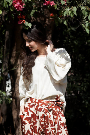 Julia blouse in ivory ahimsa silk