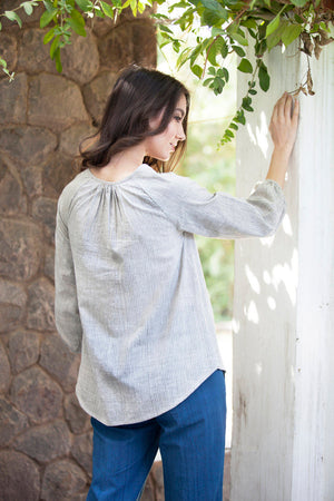 Amelia blouse in olive dobby khadi cotton