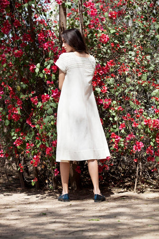 Caroline dress in Ivory hand embroidered khadi cotton