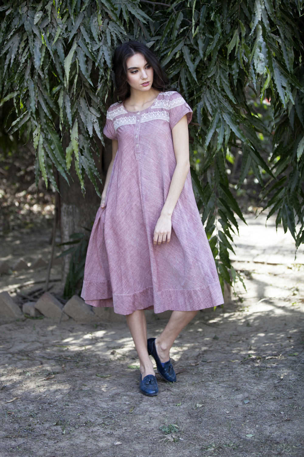 Caroline dress in red chambray hand embroidered khadi cotton