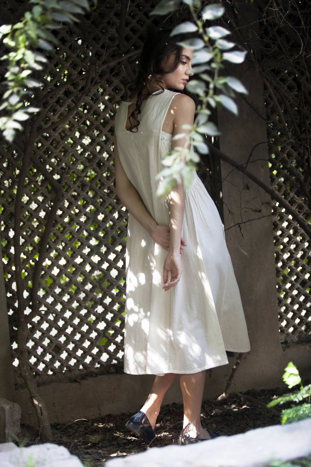 Jennifer dress in ivory hand embroidered khadi cotton