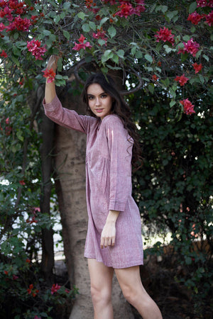 Emma dress in red chambray khadi cotton