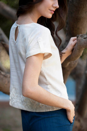 Erin top in ivory hand embroidered khadi cotton