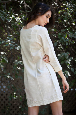 Emma dress in Ivory hand embroidered khadi cotton