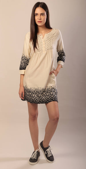 Rene dress in hand block printed ahimsa silk