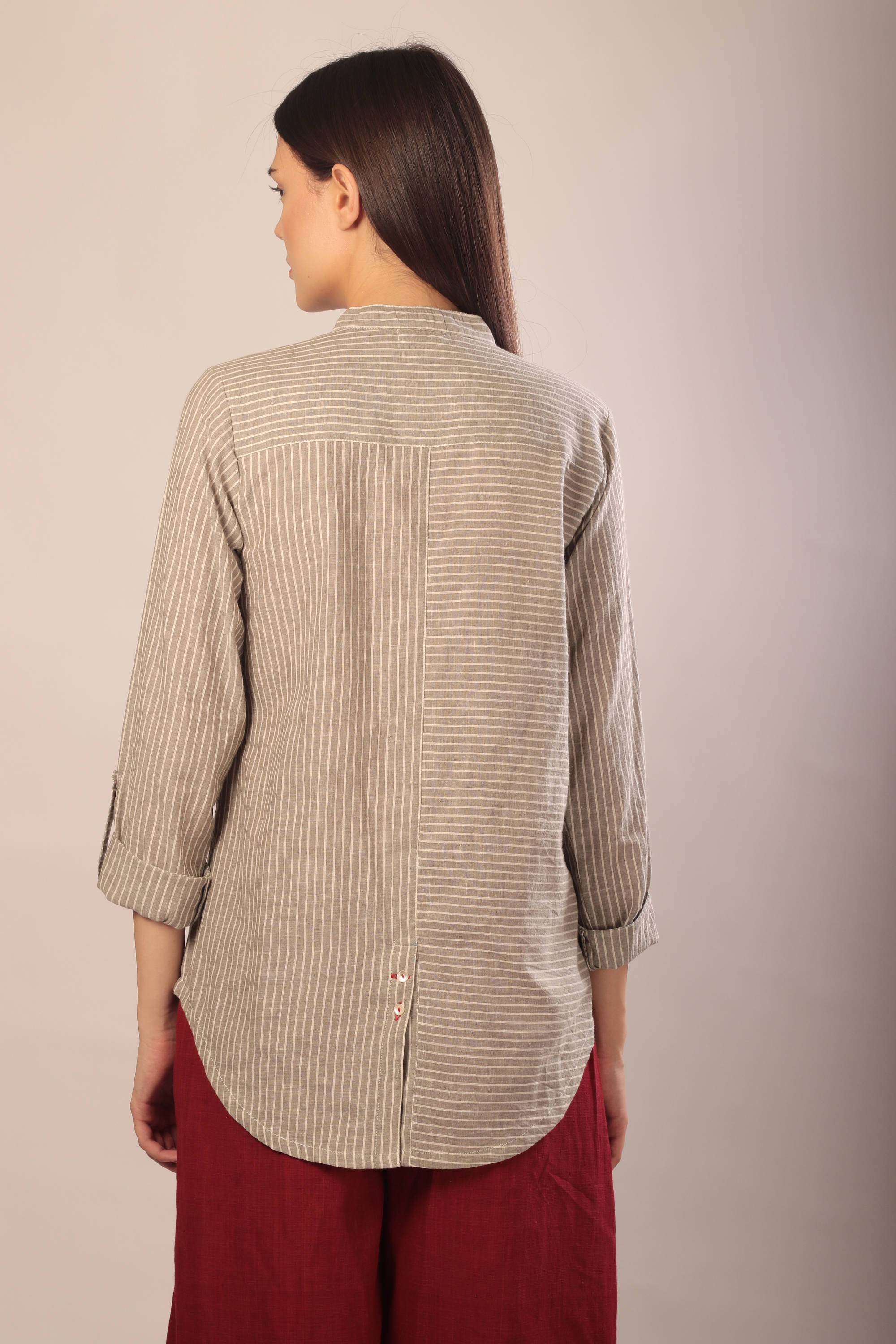 Sabah shirt in striped khadi cotton