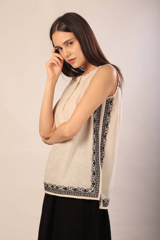 Anjie top in hand embroidered khadi cotton