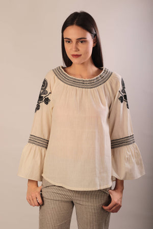 Angel blouse in hand embroidered khadi cotton