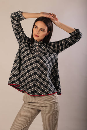Sandra top in yarn dyed khadi cotton