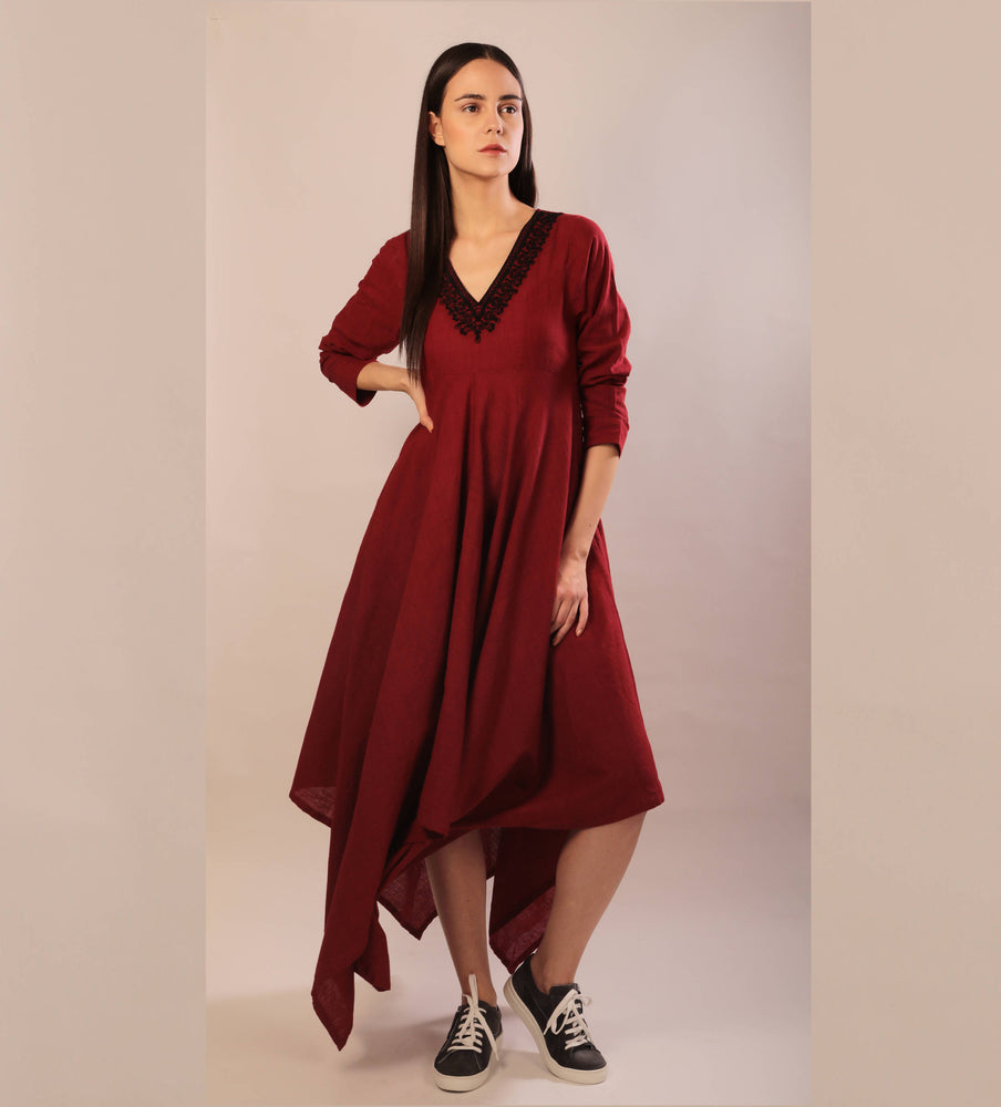 Laeticia dress in red hand embroidered khadi cotton