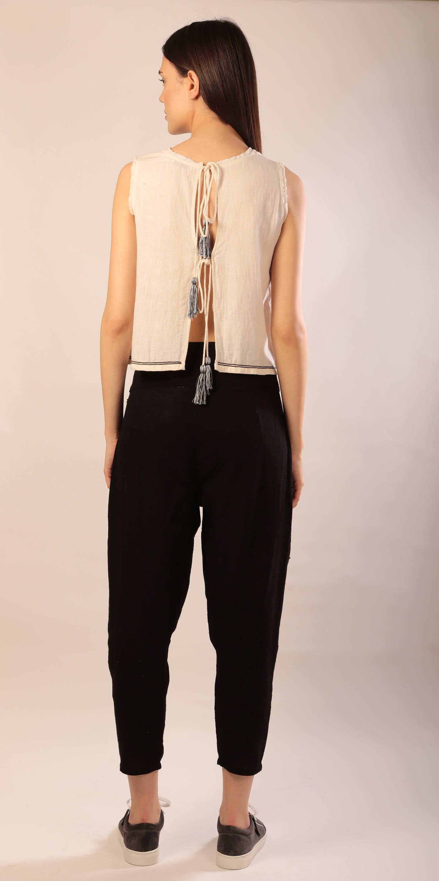 Felicia harem pants in black khadi cotton