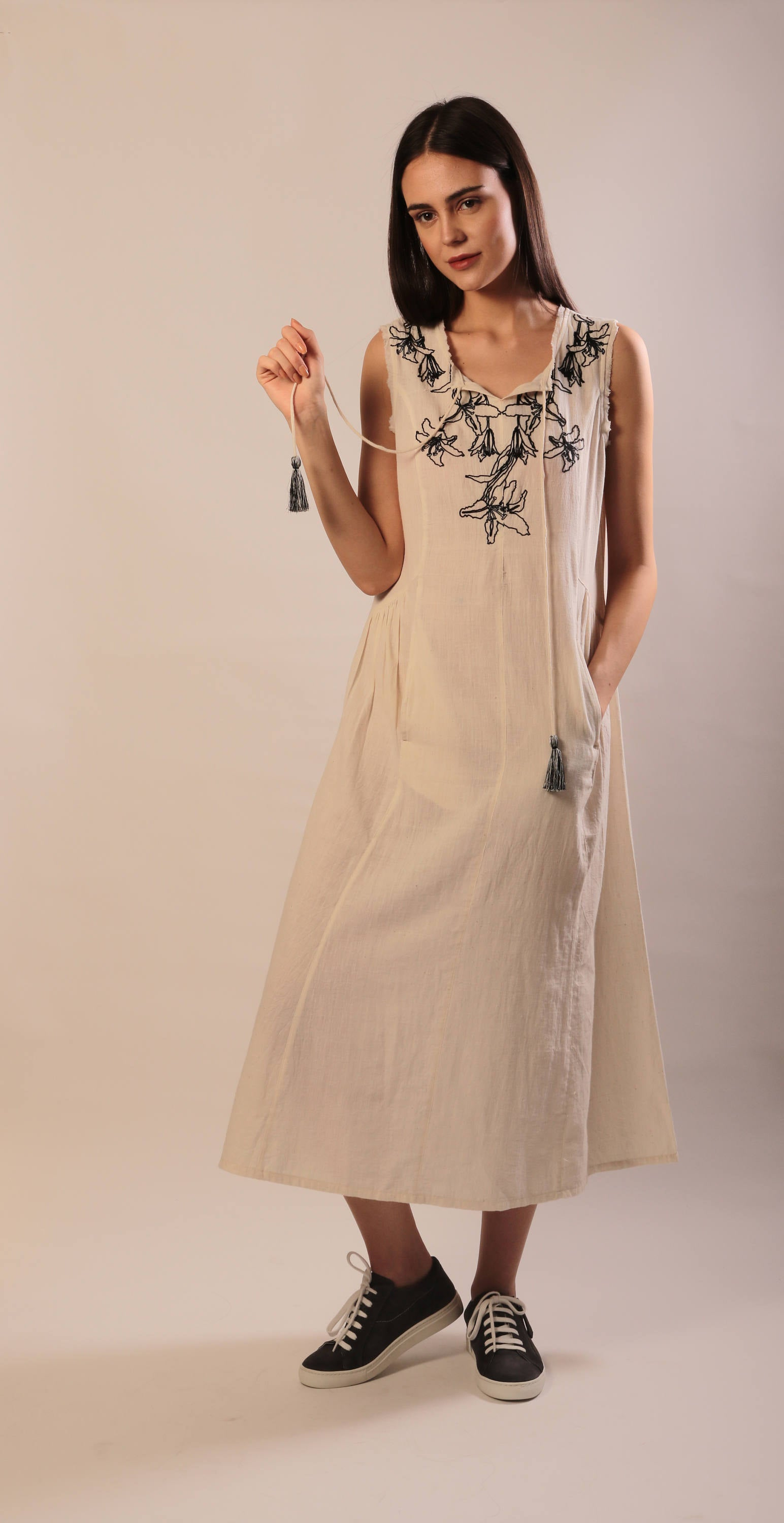 Jennifer maxi dress in ivory hand embroidered khadi cotton